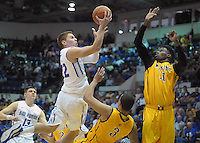 February 7, 2015 - Colorado Springs, Colorado, U.S. -  Air Force guard, Max Yon #22, drives for a layup and continues to return to form during an NCAA basketball game between the University of Wyoming Cowboys and the Air Force Academy Falcons at Clune Arena, U.S. Air Force Academy, Colorado Springs, Colorado.  Air Force soars to a 73-50 win over Wyoming.