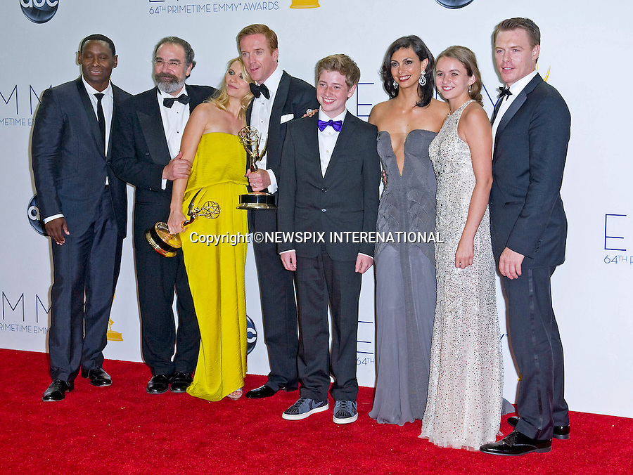 """""""HOMELAND"""" CAST - 64TH PRIME TIME EMMY AWARDS.Nokia Theatre Live, Los Angelees_23/09/2012.Mandatory Credit Photo: ©Dias/NEWSPIX INTERNATIONAL..**ALL FEES PAYABLE TO: """"NEWSPIX INTERNATIONAL""""**..IMMEDIATE CONFIRMATION OF USAGE REQUIRED:.Newspix International, 31 Chinnery Hill, Bishop's Stortford, ENGLAND CM23 3PS.Tel:+441279 324672  ; Fax: +441279656877.Mobile:  07775681153.e-mail: info@newspixinternational.co.uk"""