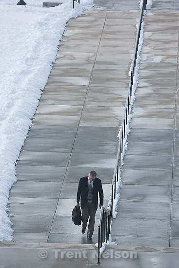 Trent Nelson     The Salt Lake Tribune.A man walks up to the state capitol in Salt Lake City, Utah, Tuesday, March 8, 2011.