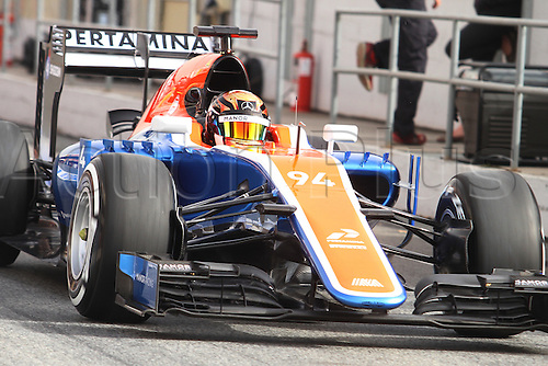 22.02.2016 Circuit Barcelona-Catalunya, Barcelona, Spain. Formula 1 test days.  Pascal Wehrlein driving MRT05 Manor during the launch of  new cars for the upcoming Formula One season.