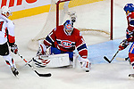 11 November 2008:  Montreal Canadiens' goaltender Carey Price makes a save in the second period against the Ottawa Senators at the Bell Centre in Montreal, Quebec, Canada. The Canadiens defeated the visiting Senators 4-0 with Price earning his first shut-out of the season. ***Editorial Sales Only***..Mandatory Photo Credit: Ed Wolfstein Photo *** Editorial Sales through Icon Sports Media *** www.iconsportsmedia.com