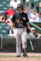 Louisville Bats outfielder Brent Clevlen #45 during a game against the Rochester Red Wings at Frontier Field on May 12, 2011 in Rochester, New York.  Louisville defeated Rochester 5-2.  Photo By Mike Janes/Four Seam Images