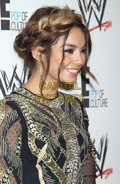 Vanessa Hudgens<br /> WWE &amp; E! Entertainment's &quot;SuperStars For Hope&quot; supporting Make-A-Wish at The Beverly Hills Hotel in Beverly Hills, CA., USA.<br /> August 15th, 2013<br /> headshot portrait gold black embroidered hair up braid plait dyed blonde profile <br /> CAP/ADM/RE<br /> &copy;Russ Elliot/AdMedia/Capital Pictures