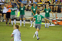 Lauren Cheney (11) of Abby XI celebrates scoring during the Women's Professional Soccer (WPS) All-Star Game at KSU Stadium in Kennesaw, GA, on June 30, 2010.