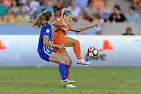 Houston, TX - Wednesday June 28, 2017: Rachel Daly and Julie King battle for control of the ball during a regular season National Women's Soccer League (NWSL) match between the Houston Dash and the Boston Breakers at BBVA Compass Stadium.