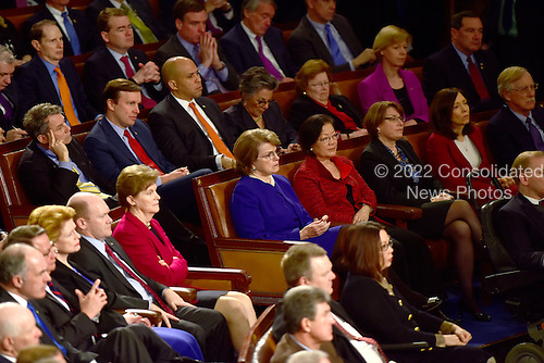 Democratic United States Senators including Cory Booker (Democrat of New Jersey), Dianne Feinstein (Democrat of California), Barbara Mikulski (Democrat of Maryland), and Chris Murphy (Democrat of Connecticut) listen as Prime Minister Benjamin Netanyahu of Israel delivers an address to a joint session of the United States Congress in the U.S. Capitol in Washington, D.C. on Tuesday, March 3, 2015.<br /> Credit: Ron Sachs / CNP<br /> (RESTRICTION: NO New York or New Jersey Newspapers or newspapers within a 75 mile radius of New York City)