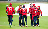 ICC World T20 Qualifier (Warm up match) - Scotland V Jersey at Heriots CC, Edinburgh - Jersey celebrate one of their wickets — credit @ICC/Donald MacLeod - 06.7.15 - 07702 319 738 -clanmacleod@btinternet.com - www.donald-macleod.com
