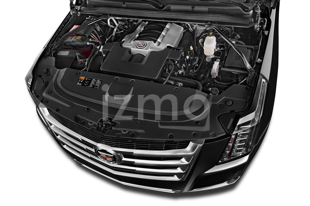 Car Stock 2015 Cadillac Escalade ESV 2WD Luxury 5 Door SUV Engine high angle detail view