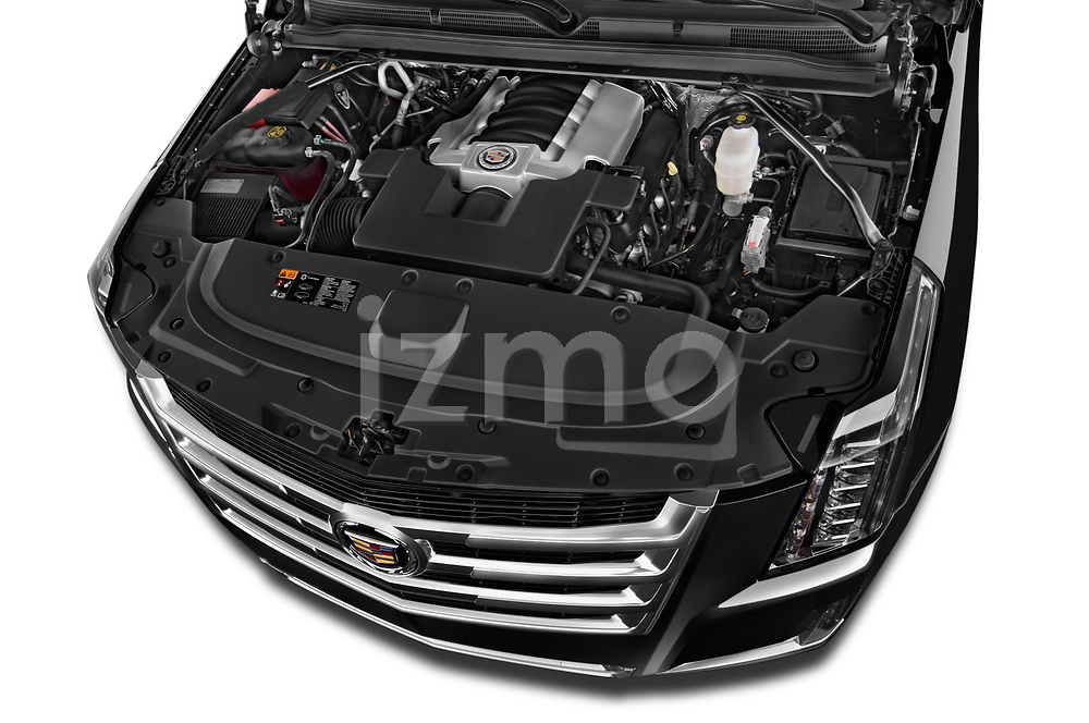 Car Stock 2018 Cadillac Escalade ESV 2WD Luxury 5 Door SUV Engine high angle detail view