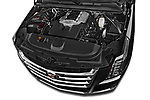 Car Stock 2015 Cadillac Escalade ESV 2WD Luxury 5 Door SUV Engine high angle detail view
