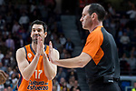 Valencia Basket Rafa Martinez talking with the referee during Turkish Airlines Euroleague match between Real Madrid and Valencia Basket at Wizink Center in Madrid, Spain. December 19, 2017. (ALTERPHOTOS/Borja B.Hojas)