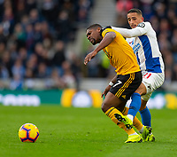 Wolverhampton Wanderers' Ivan Cavaleiro (left) is fouled by Brighton &amp; Hove Albion's Anthony Knockaert (right) <br /> <br /> Photographer David Horton/CameraSport<br /> <br /> The Premier League - Brighton and Hove Albion v Wolverhampton Wanderers - Saturday 27th October 2018 - The Amex Stadium - Brighton<br /> <br /> World Copyright &copy; 2018 CameraSport. All rights reserved. 43 Linden Ave. Countesthorpe. Leicester. England. LE8 5PG - Tel: +44 (0) 116 277 4147 - admin@camerasport.com - www.camerasport.com