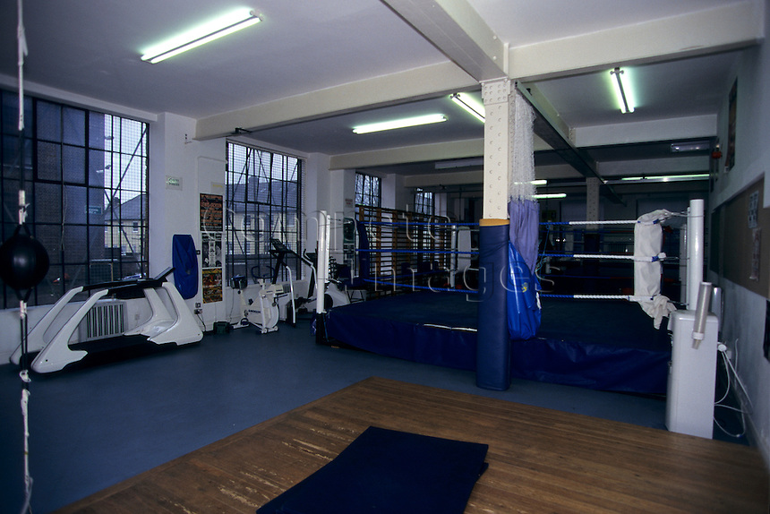 Boxing gym with training equipment