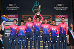 EF Education First win the team classification on the podium at the end of Stage 7 of the Race of the Two Seas, the 54th Tirreno-Adriatico 2019, an individual time trial running 10.1km around San Benedetto del Tronto, Italy. 19th March 2019.<br /> Picture: LaPresse/Gian Mattia D'Alberto | Cyclefile<br /> <br /> <br /> All photos usage must carry mandatory copyright credit (&copy; Cyclefile | LaPresse/Gian Mattia D'Alberto)