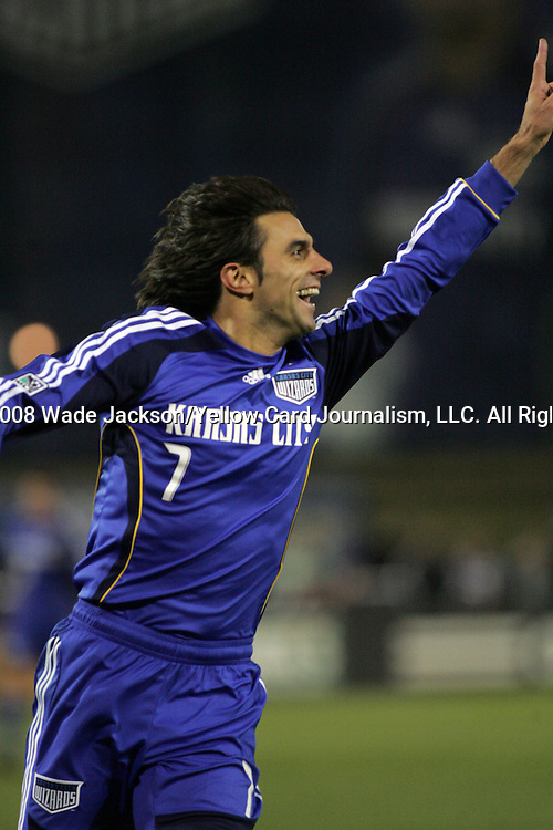 March 29 2008:  Claudio Lopez (7) of the Wizards celebrates his first goal in a Wizards uniform.  The MLS Kansas City Wizards defeated the visiting DC United 2-0 at Community America Ballpark in Kansas City, Kansas, in their 2008 season home opener.