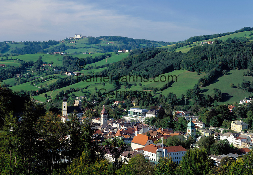 Austria, Lower Austria, Waidhofen, in background pilgrimage church Sonntagberg