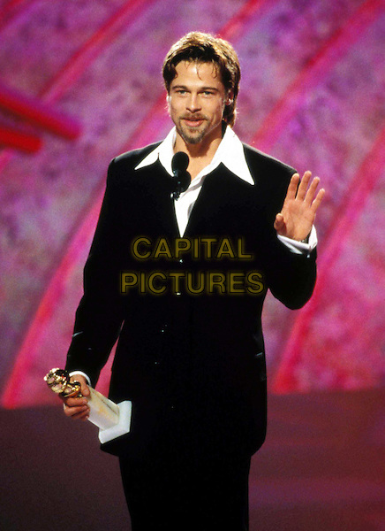 BRAD PITT..Ref:043..golden globe award, speech, waving, beard, black suit, white collaer, half length, half-length..www.capitalpictures.com..sales@capitalpictures.com..©Capital Pictures