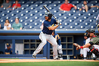 New Orleans Baby Cakes second baseman Steve Lombardozzi (4) at bat during a game against the Nashville Sounds on April 30, 2017 at First Tennessee Park in Nashville, Tennessee.  The game was postponed due to inclement weather in the fourth inning.  (Mike Janes/Four Seam Images)
