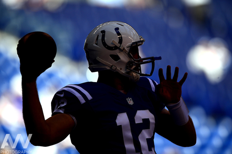 Sep 28, 2014; Indianapolis, IN, USA; Indianapolis Colts quarterback Andrew Luck (12) warms up prior to the game against the Tennessee Titans at Lucas Oil Stadium. Mandatory Credit: Andrew Weber-USA TODAY Sports
