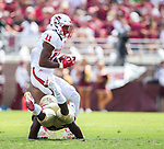 North Carolina State Jakobi Meyers catches a pass in front of Florida State defensive back Nate Andrews for a 71 yard catch and touchdown run in the first half of an NCAA college football game in Tallahassee, Fla., Saturday, Sept. 23, 2017.  (AP Photo/Mark Wallheiser)