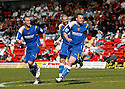 Joel Byrom of Stevenage Borough (r) celebrates scoring the second goal during the Blue Square Premier match between Kidderminster Harriers and Stevenage Borough at the Aggborough Stadium, Kidderminster on Saturday 17th April, 2010..© Kevin Coleman 2010