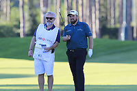 Shane Lowry (IRL) and caddy Bo prepare to play his 2nd shot on the 17th hole during Thursday's Round 1 of the 2018 Turkish Airlines Open hosted by Regnum Carya Golf &amp; Spa Resort, Antalya, Turkey. 1st November 2018.<br /> Picture: Eoin Clarke | Golffile<br /> <br /> <br /> All photos usage must carry mandatory copyright credit (&copy; Golffile | Eoin Clarke)