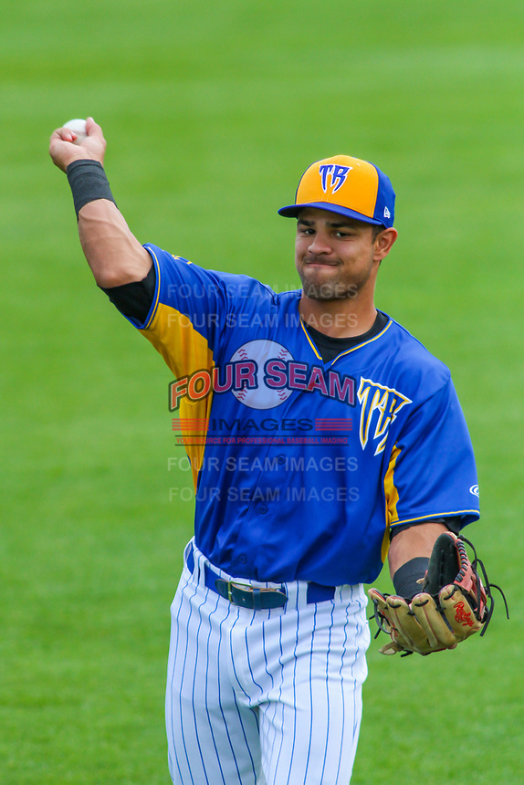 Wisconsin Timber Rattlers third baseman Dallas Carroll (14) warms up prior to a Midwest League game against the Cedar Rapids Kernels on August 6, 2017 at Fox Cities Stadium in Appleton, Wisconsin.  Cedar Rapids defeated Wisconsin 4-0. (Brad Krause/Four Seam Images)