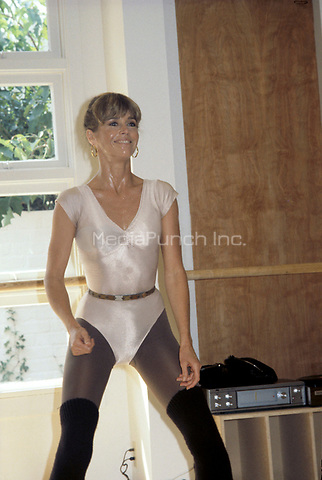 Jane Fonda working out at her workout club in Los Angeles California in the early 1980's.<br /> &copy; Nancy Barr  / MediaPunch