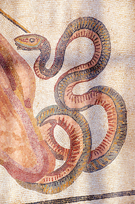 snake mosaic - Roman mosaics at the Villa Romana del Casale which containis the richest, largest and most complex collection of Roman mosaics in the world. Constructed  in the first quarter of the 4th century AD. Sicily, Italy. A UNESCO World Heritage Site.