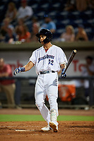 Pensacola Blue Wahoos Shrimp center fielder Jose Siri (22) at bat during a game against the Jacksonville Jumbo on August 15, 2018 at Blue Wahoos Stadium in Pensacola, Florida.  Jacksonville defeated Pensacola 9-2.  (Mike Janes/Four Seam Images)