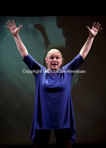 "Waterbury, CT- 12 January 2016-011216CM09- April Woodall, plays Waterbury native, Elizabeth Petruccione, in ""Born Fat"" starting on Friday, January 15 at Seven Angels Theatre in Waterbury.  The show is written by Jacques Lamarre and directed by Steve Ginsburg.  Christopher Massa Republican-American"