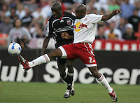 April 2, 2006: Washington, DC: DC United defender (12) John Wilson  holds off New York Red Bulls defender (2) Marvell Wynne at RFK Stadium.  The game ended in a tie, 2-2.