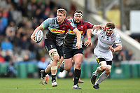 Alex Dombrandt of Harlequins goes on the attack. Gallagher Premiership match, between Harlequins and Gloucester Rugby on March 10, 2019 at the Twickenham Stoop in London, England. Photo by: Patrick Khachfe / JMP