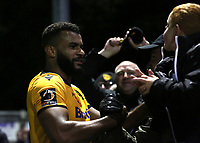 Dan Wishart scorer of Maidstone's opening goal celebrates with the fans at the final whistle during Maidstone United vs Torquay United, Emirates FA Cup Football at the Gallagher Stadium on 9th November 2019