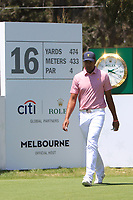 Tony Finau (USA) on the 16th tee during the First Round - Four Ball of the Presidents Cup 2019, Royal Melbourne Golf Club, Melbourne, Victoria, Australia. 12/12/2019.<br /> Picture Thos Caffrey / Golffile.ie<br /> <br /> All photo usage must carry mandatory copyright credit (© Golffile | Thos Caffrey)