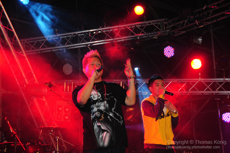 Kaohsiung, MegaPort Music Festival -- Popular Taiwanese rapper DA ZHI (Dog-G) on stage during the festival.