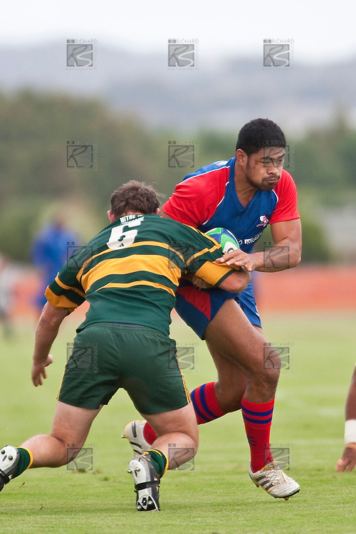 New Zealands Sevens player Fritz Lee makes one of his many strong runs upfield. Counties Manukau Premier Club Rugby game between Ardmore Marist and Pukekohe played at Bruce Pulman Park on Saturday April 17th..Pukekohe won the game 25 - 0 after leading 15 - 0 at halftime.