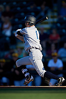 Tampa Tarpons second baseman Hoy Jun Park (1) follows through on a swing during a game against the Bradenton Marauders on April 25, 2018 at LECOM Park in Bradenton, Florida.  Tampa defeated Bradenton 7-3.  (Mike Janes/Four Seam Images)