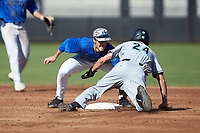 Morgan Hyde (24) of the Coastal Carolina Chanticleers is tagged out by Grant Norris (2) of the Duke Blue Devils as he tries to steal second base at Segra Stadium on November 2, 2019 in Fayetteville, North Carolina. (Brian Westerholt/Four Seam Images)