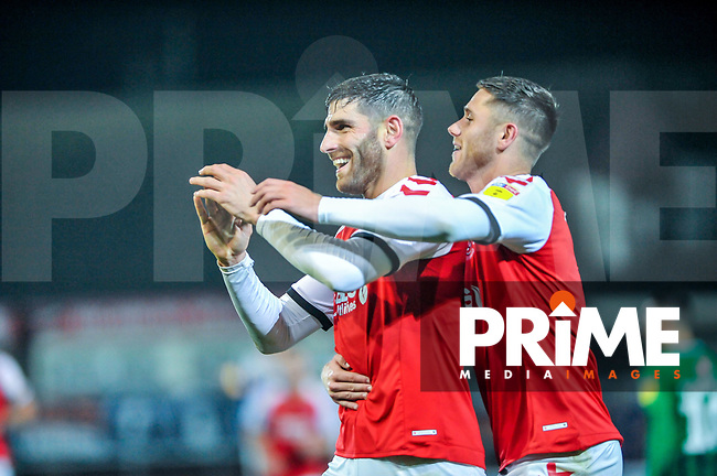 Fleetwood Town's forward Ched Evans (9) with Fleetwood Town's forward Wes Burns (7) during the Sky Bet League 1 match between Fleetwood Town and Coventry City at Highbury Stadium, Fleetwood, England on 27 November 2018. Photo by Stephen Buckley / PRiME Media Images.