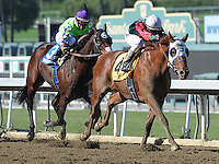 Oct. 29, 2011.Rousing Sermon ridden by Rafael Bejarano taking the lead in the stretch and winning the Bob Benoit California Cup Juvenile Stakes at Santa Anita Park, Arcadia, CA