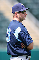 April 12, 2009:  Coach Joe Szekely of the Charlotte Stone Crabs, Florida State League Class-A affiliate of the Tampa Bay Rays, during a game at Hammond Stadium in Fort Myers, FL.  Photo by:  Mike Janes/Four Seam Images