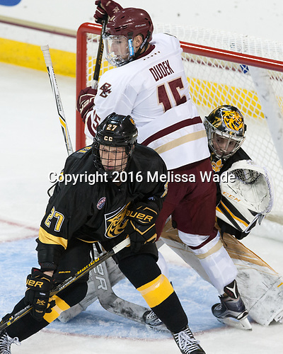 Ben Israel (CC - 27), JD Dudek (BC - 15), Alex Leclerc (CC - 1) - The Boston College Eagles defeated the visiting Colorado College Tigers 4-1 on Friday, October 21, 2016, at Kelley Rink in Conte Forum in Chestnut Hill, Massachusetts.The Boston College Eagles defeated the visiting Colorado College Tiger 4-1 on Friday, October 21, 2016, at Kelley Rink in Conte Forum in Chestnut Hill, Massachusett.