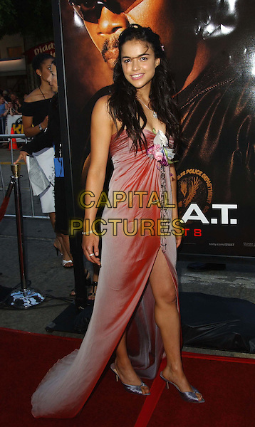 MICHELLE RODRIGUEZ.'S.W.A.T.' LA Film Premiere held at Mann Village Theatre.www.capitalpictures.com.sales@capitalpictures.com.©Capital Pictures.swat, floral detail pink thigh split dress...full length, full-length