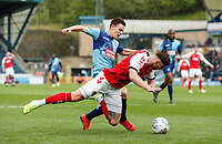 Fleetwood Town's Wes Burns competing with Wycombe Wanderers' Dominic Gape in the penalty area<br /> <br /> Photographer Andrew Kearns/CameraSport<br /> <br /> The EFL Sky Bet League One - Wycombe Wanderers v Fleetwood Town - Saturday 4th May 2019 - Adams Park - Wycombe<br /> <br /> World Copyright © 2019 CameraSport. All rights reserved. 43 Linden Ave. Countesthorpe. Leicester. England. LE8 5PG - Tel: +44 (0) 116 277 4147 - admin@camerasport.com - www.camerasport.com