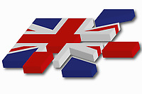 The Union Jack flag breaking up