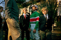 Waiting in the paddock before a race is 54-year old Pat Day, who has a career win of over 8000 races. A jockey's life is not easy--a member of an elite club of professional athletes <br /> who maintain a near inhuman weight restriction that most Americans could not pass. Day, surrounded by the sons of a trainer he rides for at Keeneland Race track.