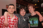Mickey Carr, Stephen Behan and Ciaran O'Neill celebrating New Years Eve in Hogs and Heiffers...(Photo credit should read www.newsfile.ie)....This Picture has been sent you under the conditions enclosed by:.Newsfile Ltd..The Studio,.Millmount Abbey,.Drogheda,.Co Meath..Ireland..Tel: +353(0)41-9871240.Fax: +353(0)41-9871260.GSM: +353(0)86-2500958.email: pictures@newsfile.ie.www.newsfile.ie.