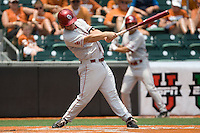 Third baseman Garrett Buechele #38 of the Oklahoma Sooners swings against the Texas Longhorns in NCAA Big XII baseball on May 1, 2011 at Disch Falk Field in Austin, Texas. (Photo by Andrew Woolley / Four Seam Images)