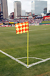 23 May 2013:  Corner flag in the breeze at Busch Stadium.  Chelsea F.C. was defeated by Manchester City 3-4 at Busch Stadium in Saint Louis, Missouri, in a friendly exhibition soccer match.